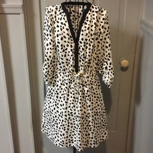H&M Dalmatian Print Cinched Waist Dress